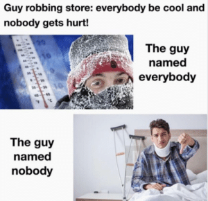 Everybody, you must stay cool while I hurt nobody!: Guy robbing store: everybody be cool and  nobody gets hurt!  20  The guy  0--30  named  10  everybody  20  20--30  40-40  .  The guy  named  nobody Everybody, you must stay cool while I hurt nobody!