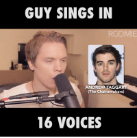 Dank, Singing, and Voice: GUY SINGS IN  ROOMIE  ANDREW TAGGART  (The Chainsmokers)  16 VOICES Roomie is back again... 👏👏
