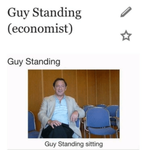 Economist, Guy, and Sitting: Guy Standing  (economist)  Guy Standing  Guy Standing sitting Guy standing sitting