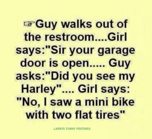 """Funny, Saw, and Wow: Guy walks out of  the restroom....Girl  says:""""Sir your garage  door is ope.. Guy  asks:""""Did you see my  Harley"""". Girl says:  """"No, I saw a mini bike  with two flat tires""""  LARRYS FUNNY POSTINGS Wow"""
