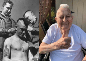 Guy Whidden, a WWll vet who got a mohawk the day before D-Day, is doing it again to spread cheer: Guy Whidden, a WWll vet who got a mohawk the day before D-Day, is doing it again to spread cheer