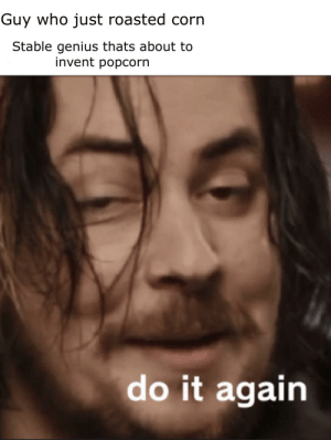 Do It Again, Reddit, and Genius: Guy who just roasted corn  Stable genius thats about to  invent popcorn  do it again Norm or
