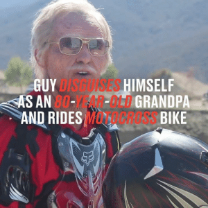 This guy dressed up as an 80-year-old man and pranked people with his impressive dirt bike skills. Imagine seeing this 👴🏻🙈  Dean Wilson: GUYDISGUISES HIMSELF  AS AN 80--MLDGRANDPA  AND RIDES MCRESS BIKE  FDX This guy dressed up as an 80-year-old man and pranked people with his impressive dirt bike skills. Imagine seeing this 👴🏻🙈  Dean Wilson