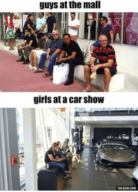 9gag, Dank, and 🤖: guys at the mall  girls at a Car Show  VIA9GAG.COM Me at the mall and the car show. http://9gag.com/gag/a0dRxZz?ref=fbpic