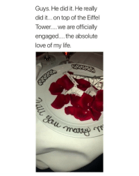 Cute, Fucking, and Life: Guys. He did it. He really  did it...on top of the Eiffel  Tower.... We are officially  engaged... the absolute  love of my life. this is so fucking cute :(