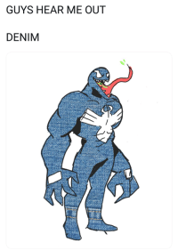 Funny, Twitter, and Com: GUYS HEAR ME OUT  DENIM Hear me out [credit: twitter.com/gunstoppable]