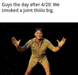 Meme, Reddit, and Happy: Guys the day after 4/20: We  smoked a joint thiiis big. A 4/20 meme! Happy Holidays!