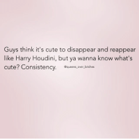 Fuck off asshat FabSquad queens_over_bitches: Guys think it's cute to disappear and reappear  like Harry Houdini, but ya wanna know what's  cute? Consistency  @queens over bitches Fuck off asshat FabSquad queens_over_bitches