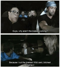 Memes, Wild, and 🤖: Guys, why aren't the brakes working?!  Because I cut the brakes! Wild card, bitches!  Yeehaw! just watched this again yesterday. Classic.