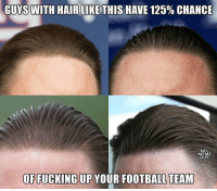 Football, Fucking, and Meme: GUYS WITH HAIR LIKE THIS HA  VE 125% CHANCE  NFL  MEME  GUY  OF FUCKING UP YOUR FOOTBALL TEAM COLD BLOODED! 💀💀💀 https://t.co/ivAdwgeBNK