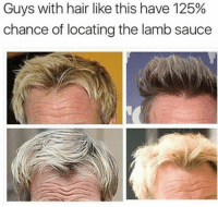 Memes, 🤖, and Lamb: Guys with hair like this have 125%  chance of locating the lamb sauce