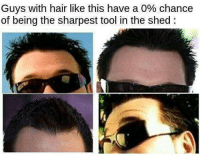 Some body once told me: Guys with hair like this have a 0% chance  of being the sharpest tool in the shed: Some body once told me