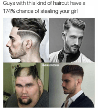 Funny, Haircut, and Haircuts: Guys with this kind of haircut have a  174% chance of stealing your girl  UNCHILLTHECHILL My ovaries 😣😍