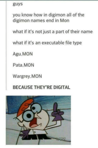 Funny, Digimon, and Name: guys  you know how in digimon all of the  digimon names end in Mon  what if it's not just a part of their name  what if it's an executable file type  Agu. MON  Pata MON  Wargrey MON  BECAUSE THEY'RE DIGITAL