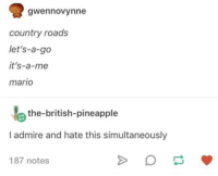 country: gwennovynne  country roads  let's-a-go  it's-a-me  mario  the-british-pineapple  I admire and hate this simultaneously  187 notes