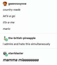 Mario, Pineapple, and British: gwennovynne  country roads  let's-a-go  it's-a-me  mario  the-british-pineapple  I admire and hate this simultaneously  starrblaster  mamma miaaaaaaaa