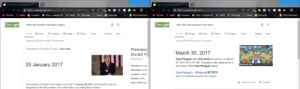 Coincidence? I think the fuck not.: Gwhen did trump's presidency beg X  +  Gwhen did club penguin shut dow  +  X  https://www.google.com/search ?q=when + did + club+ penguin..  https://www.google.com/search?q=when+did +trump%27s+ pr...  C Chrono.gg  k Kerboodle  OInstagram  Inbox - cookjethro15  k  Instagram  MInbox-cookjethro15  C Chrono.gg  YouTube  Netflix  Twitter  Canvas  Kerboodle  Other bookmarks  YouTube  Netflix  Twitter  Canvas  Other bookmarks  Go&gle  Gosgle  when did trump's presidency begin  when did club penguin shut down  Q All  Shopping  QAII  News  Images  Videos  Images  News  Videos  Shopping  Settings  More  Settings  Tools  More  Tools  About 424,000,000 results (1.09 seconds)  About 8,800,000 results (0.51 seconds)  Presidency of Donald Trump / Start date  Presidenc  March 30, 2017  Donald Tr  Phenomenon  Club Penguin later shut down its servers on March  30, 2017 at 12:01 AM. The game was replaced by a  20 January 2017  techcrunch.com  President: Donal  successor, titled Club Penguin Island.  Start date: 20 Jar  Club Penguin - WikipediaME  Location: United  http://en.wikipedia.org/wiki/Club_Penguin  Election: 2016  About this result  Seat: White Hous  Feedback  The presidency of Donald Trump began at noon EST on January 20, 2017, when Donald Trump was  inaugurated as the 45th president of the United States, succeeding Barack Obama. Coincidence? I think the fuck not.
