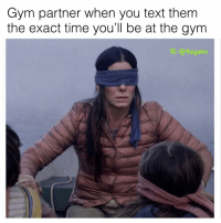 Gym, Memes, and Text: Gym partner when you text them  the exact time you'll be at the gym  C: @thegain 😤