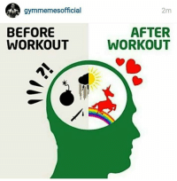 Everything is better after training.: gymmemes official  BEFORE  WORKOUT  2m  AFTER  WORKOUT Everything is better after training.