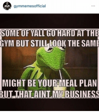 Hardness, Might, and Hardly: gymmemes official  SOME OF YALTH HARD AT THE  GYM BUT STILL LOOK THE SAME  MIGHT BE YOUR MEAL PLAN  BUT THAT AINT MY BUSINESS 😏💪🏼  www.doyoueven.com