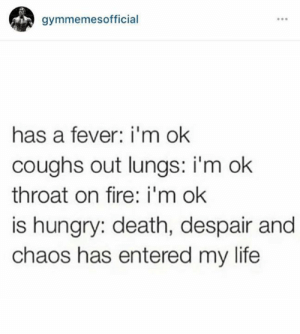 Hungry?: gymmemesofficial  has a fever: i'm ok  coughs out lungs: i'm ok  throat on fire: i'm ok  is hungry: death, despair and  chaos has entered my life Hungry?