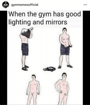 This still kills us 😂😭: gymmemesofficial  When the gym has good  lighting and mirrors This still kills us 😂😭