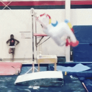 Pony, Costume, and  Gymnastic: Gymnastic in a pony costume?