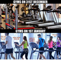 Goals, Memes, and New Year's: GYMS ON 31ST DECEMBER  GYMS ON 1ST JANUARY  lets rac  ah  Wah hot  girl next  to me  NEW YEAR  NEW ME  gotta hit  my goals  for 2018 Same shit, different year!