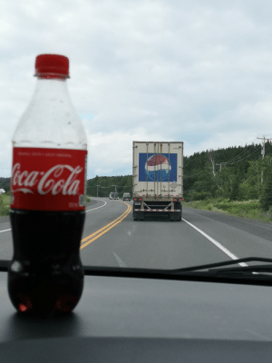 Drinking, Pepsi, and Drive: H 18261  ecaCola I'm such a mad lad that I drive behind Pepsi trucks while drinking Cokr