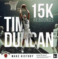 Tim Duncan becomes the sixth player in NBA history to record 15,000 rebounds. MakeHistory: H-E-B  15K  ZONE  Heat  REBOUNDS  PDAs  drink  smart  MAKE HISTORY  br  Jim Beam. Kentucky Straight Bourbon Whiskey, 40% A  2016 James B. Beam Distilling Co., Clermont, KY Tim Duncan becomes the sixth player in NBA history to record 15,000 rebounds. MakeHistory