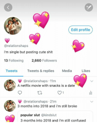 Confused, Cute, and Netflix: +H  Edit profile  @relationshaps  i'm single but posting cute shit  13 Following 2,660 Followers  Tweets Tweets & replies Media Likes  @relationshaps 11m  A netflix movie with snacks is a date  @relationshaps 21m  3 months into 2018 and i'm still broke  popular slut @kindslut  3 months into 2018 and i'm still confused follow my twitter & tweet me @-relationshaps 💗🐣