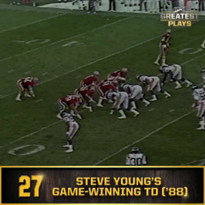 San Francisco 49ers, Memes, and Nfl: H  GREATEST  PLAYS  27  STEVE YOUNG'S  GAME-WINNING TD ('88] No. 27: @49ers QB Steve Young's 49-yard game-winning TD run (Oct. 30, 1988) #NFL100  📺: NFL 100 Greatest Plays on @NFLNetwork https://t.co/4BSNQtzmiw