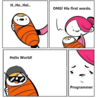Hello, Omg, and World: H..He.Hel.  OMG! His first words,  Hello World!  Programmer Hello World