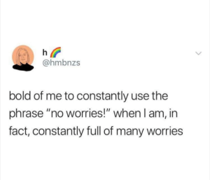 """Reddit, Bold, and Cheers: h  @hmbnzs  bold of me to constantly use the  phrase """"no worries!"""" when I am, in  fact, constantly full of many worries Cheers, h 🌈"""