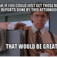 that would be great: H,IF YOU COULD JUST GET THOSE RI  REPORTS DONE BY THIS AFTERNOOI  THAT WOULD BE GREAT