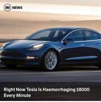 Memes, News, and 🤖: H) NEWS  Right Now Tesla Is Haemorrhaging $8000  Every Minute Via @carthrottlenews - Analysts are saying Tesla's spending is unsustainable, but the eventual massive uplift in Model 3 production should be the company's saviour