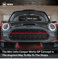 Memes, News, and Aggressive: H) NEWS  The Mini John Cooper Works GP Concept ls  The Angriest Way To Nip To The Shops Via @carthrottlenews - Massively wider, and with aggressive and functional carbonfibre aerodynamics on all sides, this performance concept from Mini is just about the angriest Cooper there's ever been