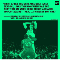 """Draymond Green, Kristaps Porzingis, and Sports: h/r  """"RIGHT AFTER THE GAME WAS OVER (LAST  SEASON), I WAS THINKING WHEN WAS THE  NEXT TIME WE WERE GOING TO GET A CHANCE  TO PLAY AGAINST THEM.  I'M READY FOR HIM.  KRISTAPS PORZINGIS ON MATCHUP  WITH DRAYMOND GREEN  H/T NY POST  KSEEN KP fired up tonight 🦄"""