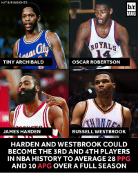 Only 2 players have averaged 28 PPG and 10 APG in NBA history. That number could be doubled this year. http://ble.ac/2jxNVUD: H/T B/R INSIGHTS  b/r  MAG  ROYALS  Oly  TINY ARCHIBALD  OSCAR ROBERTSON  JAMES HARDEN  RUSSELL WESTBROOK  HARDEN AND WESTBROOK COULD  BECOME THE 3RD AND 4TH PLAYERS  IN NBA HISTORY TO AVERAGE 28 PPG  AND 10 APG OVER A FULL SEASON Only 2 players have averaged 28 PPG and 10 APG in NBA history. That number could be doubled this year. http://ble.ac/2jxNVUD