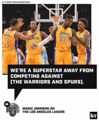 Los Angeles Lakers, Los-Angeles-Lakers, and Magic Johnson: H/T SPECTRUM SPORTSNET  IAKERS  AKERSRS  USS  RUSSEL  30  RS  WE'RE A SUPERSTAR AWAY FROM  COMPETING AGAINST  [THE WARRIORS AND SPURS].  CL  MAGIC JOHNSON ON  THE LOS ANGELES LAKERS  b/r 🤔
