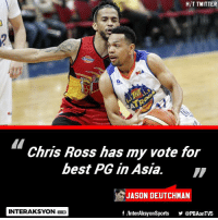 Twitter, Best, and Filipino (Language): H/T TWITTER  Chris Ross has my vote for  best PG In Asia.  JASON DEUTCHMAN  INTERAKSYON  f InterAksyonSports @PBAonTV5 Ross > Castro?