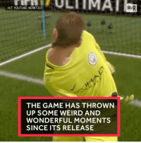 Fifa, Sports, and The Game: H/T YOUTUBE: NERK1337  THE GAME HAS THROWN  UP SOME WEIRD AND  WONDERFUL MOMENTS  SINCE ITS RELEASE FIFA glitches are the absolute worst 😂 (via @thefifa11videos)