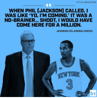 """New York, Sports, and Brandon Jennings: H/TALIANNAZZONE  WHEN PHIL [JACKSON) CALLED, I  WAS LIKE YO, I'M COMING."""" IT WAS A  NO-BRAINER... SHOOT I WOULD HAVE  COME HERE FOR A MILLION.  JENNINGS ON JOINING KNICKS  br New York was an easy call for Brandon Jennings"""