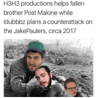 "<p>Meme war 3 started, invest quickly via /r/MemeEconomy <a href=""http://ift.tt/2vxRBsE"">http://ift.tt/2vxRBsE</a></p>: H3H3 productions helps fallen  brother Post Malone while  ldubbbz plans a counterattack on  the JakePaulers, circa 2017 <p>Meme war 3 started, invest quickly via /r/MemeEconomy <a href=""http://ift.tt/2vxRBsE"">http://ift.tt/2vxRBsE</a></p>"