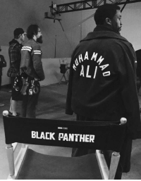 Chadwick Boseman tweeted out an exclusive behind the scenes image of himself on the set of BLACK PANTHER.  (Tim Costello): HA My  ALI  BLACK PANTHER Chadwick Boseman tweeted out an exclusive behind the scenes image of himself on the set of BLACK PANTHER.  (Tim Costello)