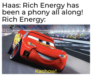 Energy, Alligator, and Lightning: Haas: Rich Energy has  been a phony all along!  Rich Energy  LIGHTNING  VOLT  Kachow! See you later, alligator