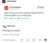 Food, Logic, and Spiders: hab3rdash  od Food Netwerk  Follow  @Food Netwerk  Spice up any meal by tossing a bag of brown  recluse spiders at a ceiling fan.  ← Reply Retweet ★ Favorite More  10knotes  The logic is sound  Source: hab3rdash  137,646 notes  D。