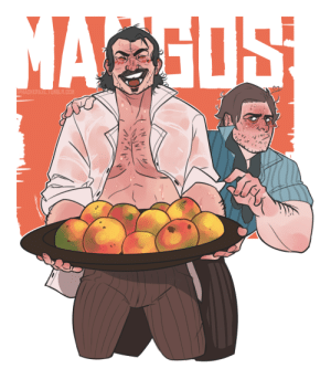 Arthur, Tumblr, and Thank You: hackeraxe:  After seeing a picture @dva-xo posted, I felt a strong need to draw this. An incredibly strong need to draw this. After a couple hours, maybe 5, I finished this drawing of Dutch parading his wonderful mangoes! I feel like this would look really good on a t-shirt or something, or a poster. Hopefully, you'll like it!This drawing was also a surprise for @dickheaddutch, @mango-van-der-linde and @dutch-dutch-vanderlinde! I hope everyone likes it, but for you special three especially!! You guys are some of the real MVPs for me.Hours of working in the hot, scorching sun have finally paid off. The fruits of his labor – LITERALLY! Mangos! Or is it 'mangoes?' Let's see if Arthur can sneak one by…  YES BICHTHANK YOU