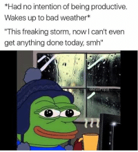 "East coast US right now: *Had no intention of being productive.  Wakes up to bad weather*  ""This freaking storm, now l can't even  get anything done today, smh'""  asiPop East coast US right now"