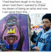 """Being Alone, Comfortable, and Energy: had teachers laugh in my face  when I told them I wanted to chase  my dream of being an artist and now  I can send them this... Artists play a special role in society. . Part of the reason artist Terrance Vann has been successful comes from his defiant attitude and the understanding that the role of the artist is no less important then that of a judge or politician. . """"I had teachers laugh in my face when I told them I wanted to chase my dream of being an artist and now I can send them this,"""" he wrote on Twitter. . Terrance, who describes his work as Afro Surrealism, believes the power of the artist can shift the energy of many and has seen this in response to his own work. . It is important for him to depict the world in an accurate way while still providing metaphors for people who follow his work. . Terrance's success may seem to have come about with ease, but there has without a doubt been some scary encounters along the way. . One of the most life changing decisions he has made was leaving his job to pursue his passion full–time. Reflecting upon this he says: """"If my job had provided a much more comfortable lifestyle for me, I'm not sure I would have left."""" . He is inspired to continue because he doesn't want people to lose their originality in the industry and does so by surrounding himself with positive and creative thinkers. . He says: """"If you are around like-minded people you will never be alone."""" . Terrence actively participates in charity events, and consistently does live paintings while managing a schedule of art shows consistently and all his own. . @terranceism 👑 . Words @delawareblackcom"""